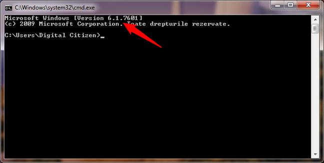 Windows 7 este afișat ca Version 6.1 în Linia de comandă