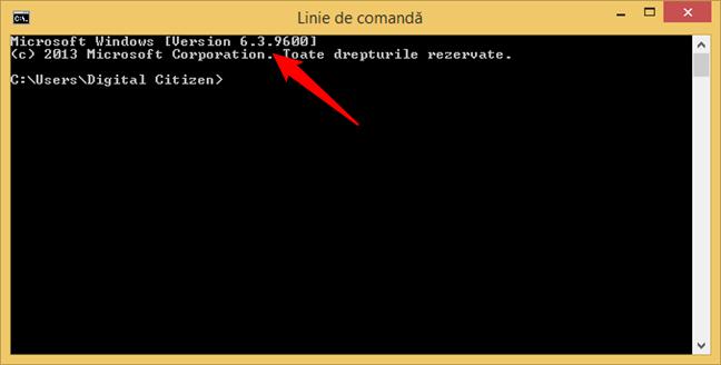 Windows 8.1 este afișat ca Version 6.3 în Linia de comandă
