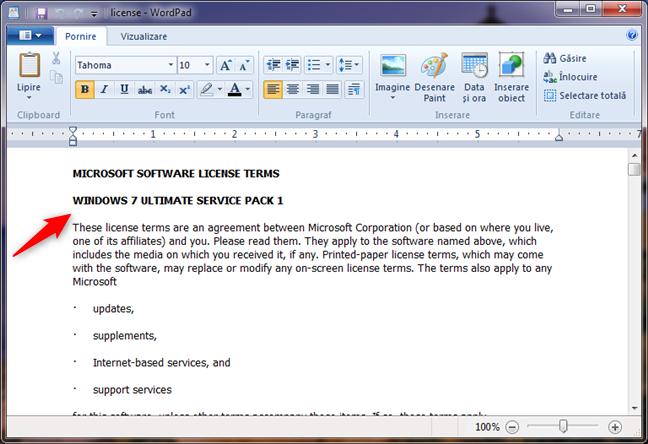 license.rtf îți spune că ai Windows 7
