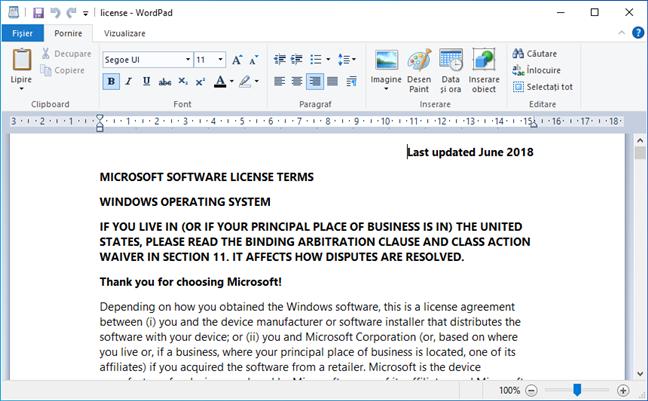 license.rtf spunându-ți că ai Windows 10