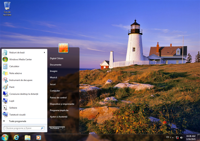 Desktop și Meniu Start în Windows 7