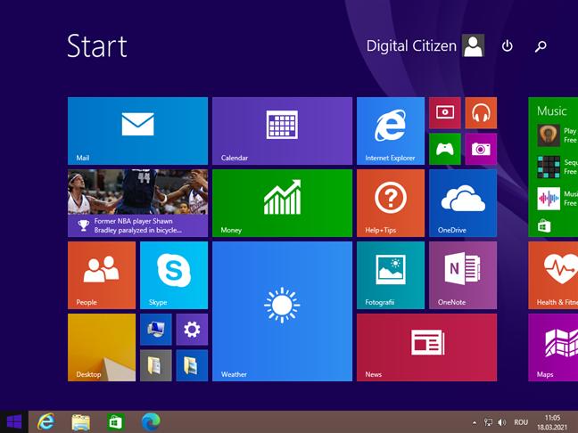 Desktop și ecran Start în Windows 8.1